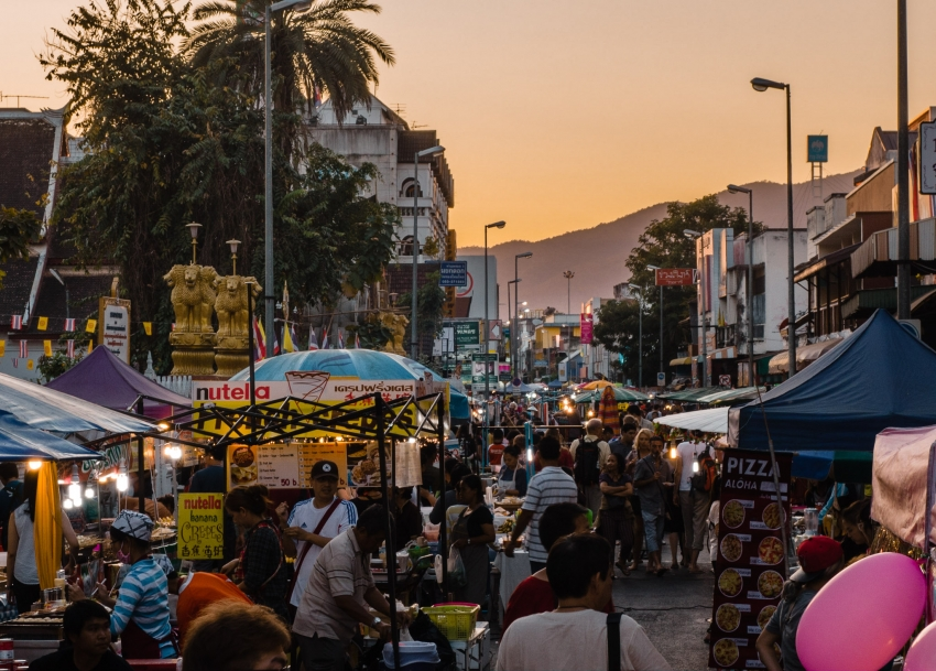 Chiang Mai, Thailand: Sunset on the New Year's Even Market